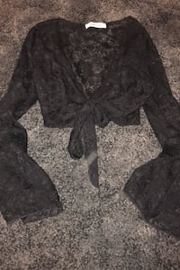 Black tie up lace top from M