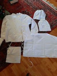 Chef clothing. White XL new. Jacket, apron, and hats