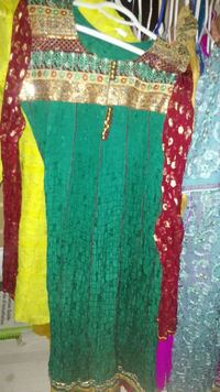 women's green brow and red scoop neck long dress Ontario, M1R 2M7