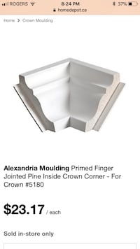 Moulure d'angle/coin-Corner Moulding-Moulding Coin intérieur Se vend pour $23 chaque a Home Depot Sells for $23 in stores 4 disponible/available $5 ch/each  800 km