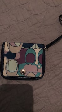 Blue and green coach wristlet
