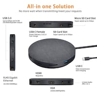 New 2019 Version USB C Hub with Wireless Charger and Fan, 11 in 1 USB C Adapter with Ethernet, 4K USB C to HDMI, VGA, 3 USB3.0 PD, SD TF Card Reader, Audio/Mic, Compatible Mac Pro and Other Type C Laptops