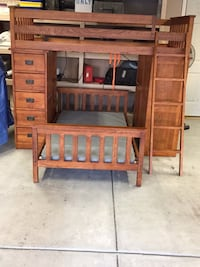 Bedbunkbeds with mattress and bedding from potery barn kids ,desk on one end shelfing on other end Las Vegas, 89123