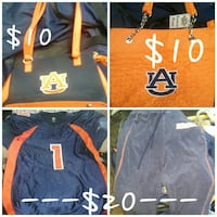 four orange-and-black handbags and jacket collage