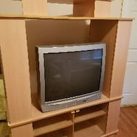 gray CRT television with brown wooden hutch The Bronx, 10458