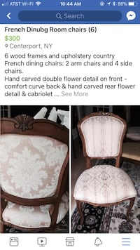 6 French Dining room chairs Dix Hills, 11746