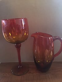 Amberina glass pitcher and goblet Bluemont, 20135
