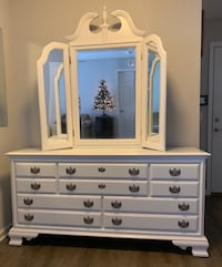 FINE WHITE SOLID WOOD VANITY DRESSER 8 DRAWERS CHEST WITH MIRROR 229 mi