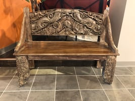 LOOK AT THIS!!! Hand Carved Indian Bench!!