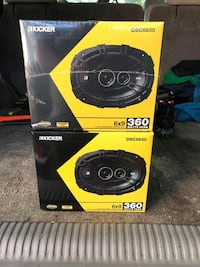black and yellow Kicker subwoofer with box Glenarden, 20706