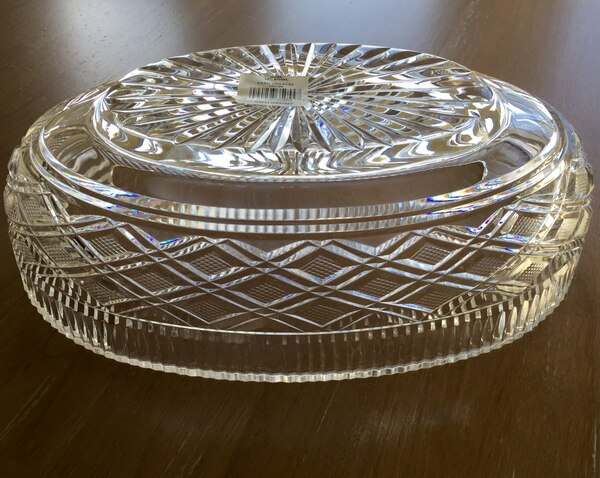 """Lead Crystal Oval Fruit Bowl Dish 12"""" 68707564-fcdd-4cf7-a905-e14c9be6a3bc"""