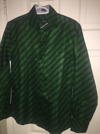 Green and black striped button-up dress shirt London, N5Y 4J8