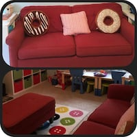 Red Lazy Boy Sofa and ottoman Washington