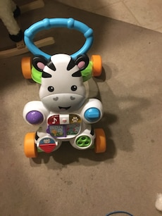 baby's multicolored zebra push walker