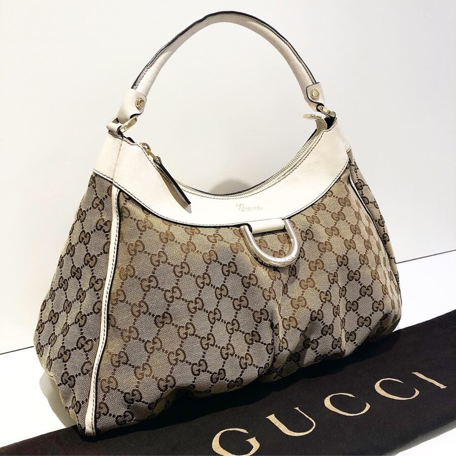 Authentic Gucci Monogram D Ring Hobo Bag