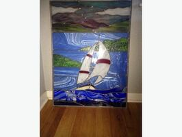 Stained glass sailboat - large