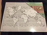 BN Colour In world map print in black frame Port Coquitlam