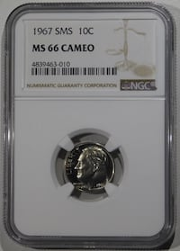 1967 Cameo Roosevelt SMS Dime NGC MS-66 Fort Lee, 07024