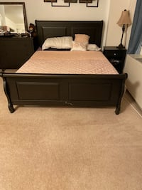 Furniture- queen bed frame, tv stand, book case and coffee table Arlington