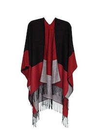 Red & Black Pashmina Feel Reversible Warm Shawl Poncho Cape Cardigan Brampton, L7A 3M2