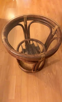 Rattan couch, mini table and side chair with foot stool   Vancouver, V5P 2V3