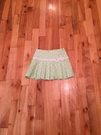 green and white dotted skirt