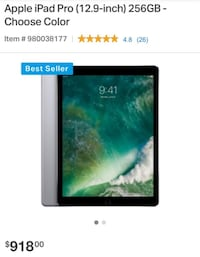 Brand New Apple iPad Pro Wifi Only 12.9 Inch (256GB) Washington, 20001
