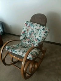 brown wooden framed white and green floral padded armchair Columbus, 43228