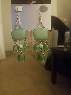 pair of green beaded earrings
