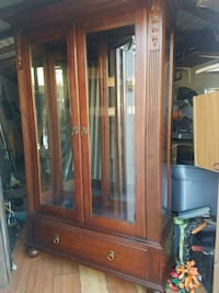 brown wooden framed glass display cabinet Hollywood, 33024