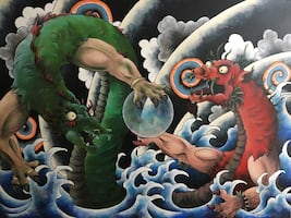 "Red Dragon vs Green Dragon 36"" x 48"" Acrylic on Canvas"