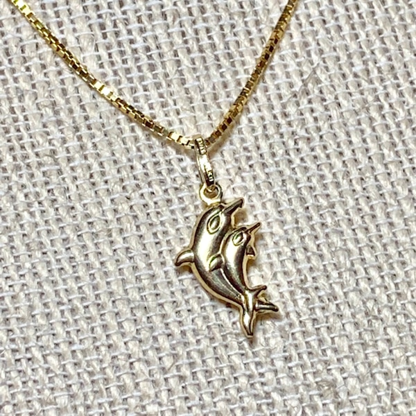 Vintage 14k Gold Dolphin Pendant with 14k Box Chain