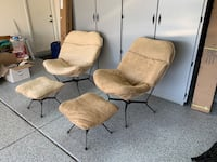 2 Brown Suede Pillow Chairs with ottomons