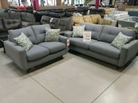 gray fabric sofa set with throw pillows Toronto, M1H 2W1
