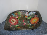 Vintage Hand Crafted Hand Painted Large Wood Bowl
