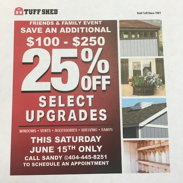 Used Tuff Shed One Day Sale for sale in Atlanta - letgo