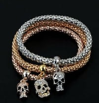 NEW Rhinestone Skull Charms 3 PC Lot Fashion Popcorn Chain Bracelet Set Lubbock
