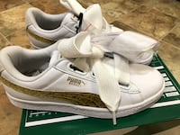 MORE THAN 1/2 off NEW Puma size 7.5 Basket Heart Sneakers - White/Gold MSRP $90 PARAMUS NJ Paramus, 07652