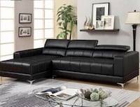 Samuel Black Bonded Leather Sectional | 1014 Houston