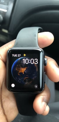 space black aluminum case Apple Watch with black sport band 277 km