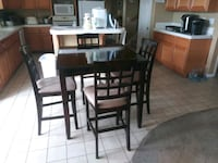 rectangular brown wooden table with four chairs dining set Highland, 92346