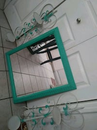 Aqua green wood frame mirror with two candle  Columbia, 29223