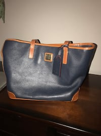 black and brown leather tote bag New Rochelle