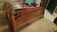 queen bed frame, head/foot boards with metal sides