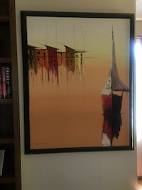 white and brown sailboat on body of water painting with black frame Fort Washington