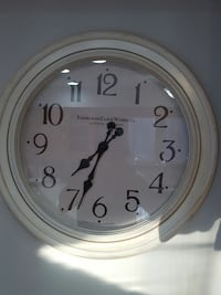 "Clock Large Antique off white finish.  24"" diamete Hawkestone, L0L 1T0"