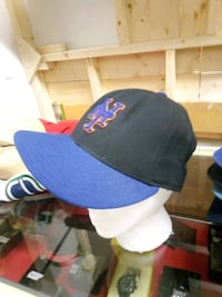 black and blue fitted cap