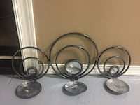 gray steel candle holders