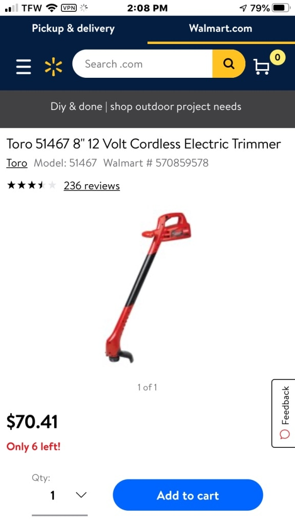 Photo Toro 8 cordless trimmer ( weed eater)