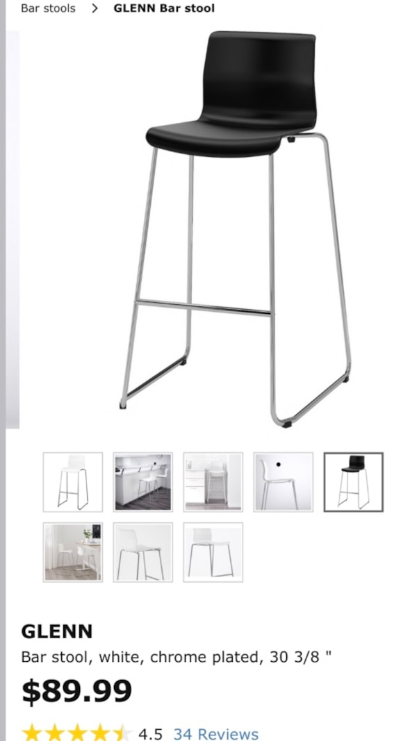Outstanding 2 Black Ikea 30 3 8 Glenn Bar Stools Both For 50 Gmtry Best Dining Table And Chair Ideas Images Gmtryco